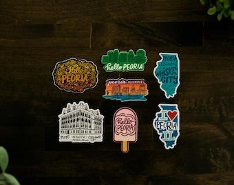 Hand-Lettered Peoria Sticker Set