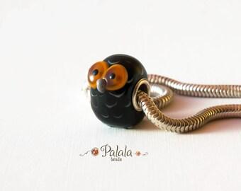Big hole Lampwork Glass Bead, euro style bead, European charm bead, Large hole bead, BHB lampwork bead,