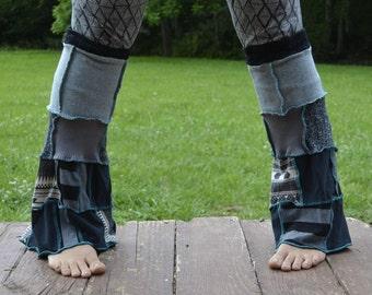 Black and Grey Patchwork Flared Legwarmers