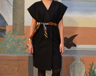 Long wool wax - CHLOE print belted dress