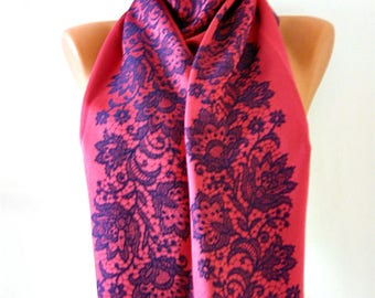 Purple pink scarf Women accessories fashion scarf Satin scarf Double sided scarf Soft large scarf Laser leaf scarf Oversize Pashmina shawl