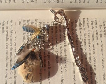 Bookmark made of natural feathers, yellow and turquoise - birthday gift, mother's day - hair - hair stick - dream catcher - book