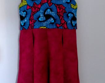 Red Blue African Wax Abstract Knot Print Dress