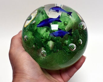 Large Murano Style Glass Paperweight, Vintage Paperweight Blown Glass, Artistic Glass with Green Foliage and Three Dolphins