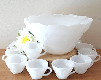 """White Glass Punch Bowl~Grape Milk Glass Punch Bowl and 12 Cups in a """"Vintage"""" Grape Pattern by Anchor Hocking Wedding Shower Bowl"""