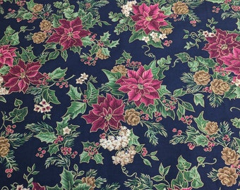 Poinsettias on Blue Cotton Fabric