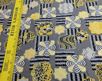 Gray and Yellow Patterned Cotton Fabric