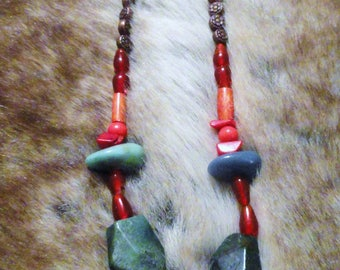 HOMEMADE Necklace with Dream Catcher, Turquoise, Coral, Red Glass and Copper Beads