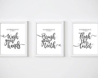 Bathroom art set, PRINTABLE ART, Wash brush flush, Bathroom rules, Bathroom decor, Wash your hands, Brush your teeth, Flush the toilet