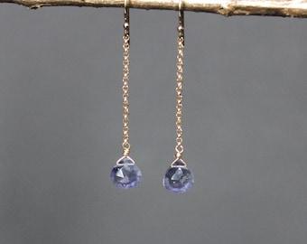 Iolite Dainty Dangle Earrings, Iolite Drop Earrings, Delicate Iolite Earrings, Iolite Jewelry, Violet Drop Earrings, Mauve Dangle Earrings