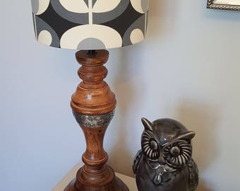 Retro Print Charcoal and Grey Drum Lampshade - handmade lamp shades in 3 sizes!