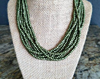 Multi strand necklace, multiple strand necklace, green necklace, olive green necklace, green beaded necklace, beaded necklace, multi beaded