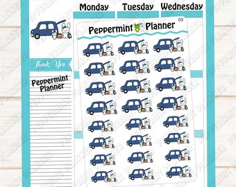 Jelly Bean dropping off or picking up her baby --- hand drawn planner stickers --- #03