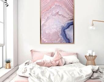Rose Quartz Print, Quartz Wall Art, Pink Gem, Pink Crystal Print, Crystal Wall Art, Pink Home Decor, Downloadable Print, Quartz Poster