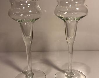 Vintage Glass Princess House Tulip Candle Holders Hand Blown Stemmed