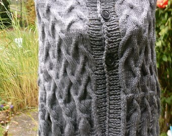 Knitted poncho Grey with Armschlitzen, Gr. 36-38 (s), UK 10-12, US 8-10