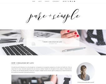 50% OFF Pure&Simple Premade Blogger Template - Responsive Blogger Template - Feminine Blogger Template -Minimalist Template-Blogger Template