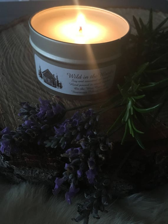 Rosemary by your garden gate and lavender for luck -100% Soy wax and essential oil candle - 6oz Tin