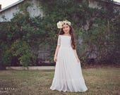White Lace First Communion Dress, Off Shoulder Lace Flower Girl Dress, White Boho Junior Bridesmaid Dress, Bohemian Dress
