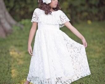 Lace Flower Girl Dress, First Communion Dress, Bohemian Dress, Girls Lace Dress, Girls Maxi Dress, Vintage Lace Dress, White Lace Dress