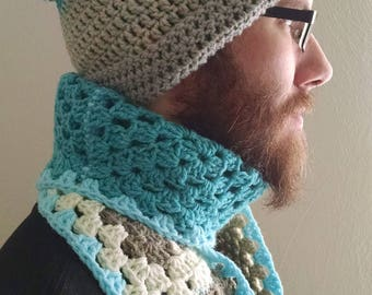 "Crochet ""Icy Steel"" Scarf & Hat set"
