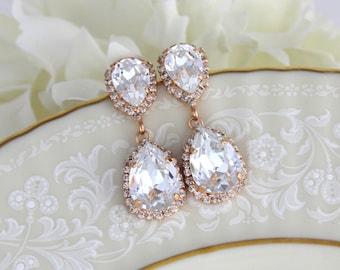 Rose gold earrings, Crystal Bridal earrings, Bridal jewelry, Swarovski crystal earrings, Wedding earrings, Crystal drop earrings, Teardrop