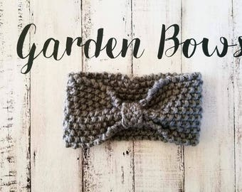Gray Crochet Headband