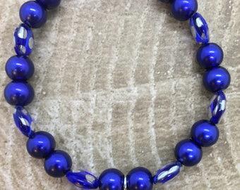Blue Beaded Bracelet with Locket charm