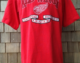 90s Vintage Detroit Red Wings T Shirt by Logo Athletic - Large - embroidered