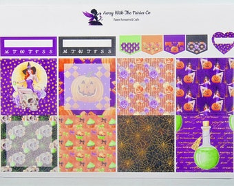 Halloween Weekly sticker kit for use with Happy Planner mini, Planner stickers, The Witching Hour