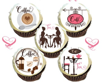 Tea & Coffee Cafe Edible Image Toppers for Cupcakes Cookies * Printed on Premium Quality Icing Sheets *