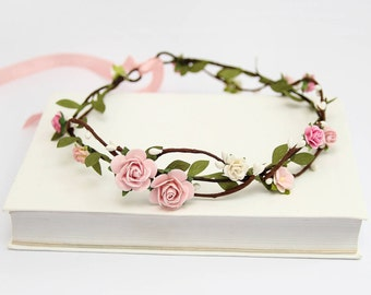 Blush Flower Crown \ Pink Rose Headband Bridal Floral Crown Wedding Circlet Flower Hair Wreath Flower Crown Adult