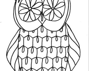 Owl-Printable coloring page,children,kids,coloring,INSTANT download, black, white,handmade, art, cartoon