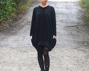 Extravagant Loose Flattering Dress / Avant Garde Casual Oversized Tunic / Plus Size Black Dress / Balloon Dress / Minimalist Black Dress