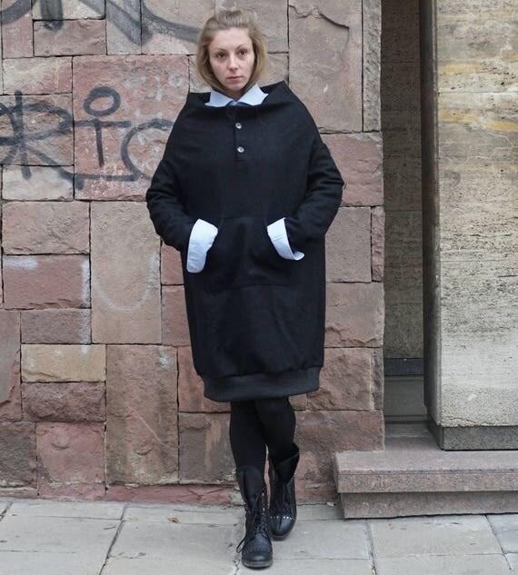 Oversized Cashmere Sweatshirt, Wool Winter Dress Top, Plus Size Elegant Black Sweatshirt, Lagenlook Sweatshirt
