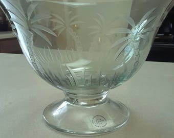 Vintage Lenox Crystal Green Palm Tree Bowl