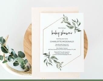 Baby Shower Invitation, Printable Modern Greenery Wreath Editable Instant Download PDF Tempalte, WLP436
