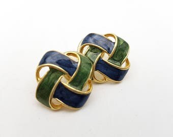 Vintage Pierced Earrings Blue and Green Gold Tone Metal Celtic Knot Stud Earrings  knotted Rope Special Event En Vogue Office Unique Retro