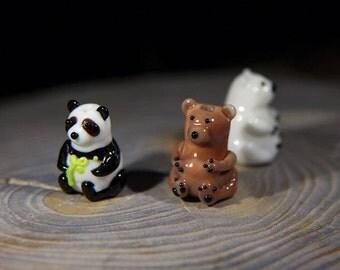 Glass beads - Bears. Lampwork bead. Lampwork animal bead. Handmade glass lampwork bead. Panda bead. Polar bear bead. Brown bear bead.