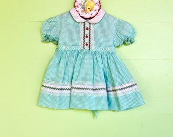 Vintage 1960s Baby Dress Size 6-9 months, Vintage Baby Girl Blue Gingham Dress, Vintage Baby Summer Dress with Peter Pan Collar