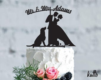 Wedding with dog and cat cake topper- Wedding Cake Topper- pets Wedding Cake Topper- Family wedding cake topper- Wedding Cake Topper