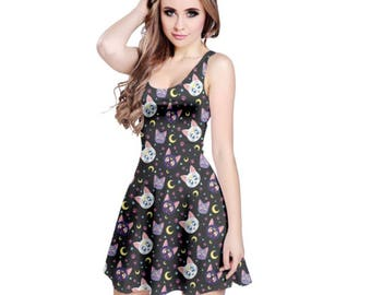 Sailor Moon Cat Dress - Skater Dress Sailor Moon Dress Anime Dress Plus Size Dress Cartoon Dress Luna Dress Artemis Dress Diana Dress