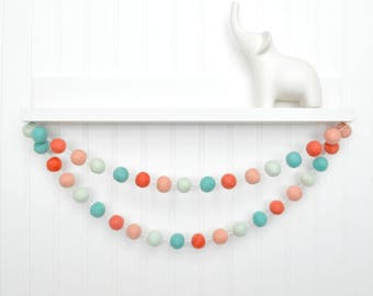 Coral and Mint Nursery, Peach and Mint Nursery Garland, Felt Ball Garland, Pom Pom Garland, Baby Girl Nursery Decor, Baby Shower Decor, Felt