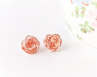 Rose Gold Earrings, Rose Earrings, Rose Studs, Flower Earrings, Bridesmaid Earrings, Mothers Day Gift, Wedding Jewellery, Rose Collection
