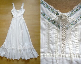 Gunne Sax Dress Jessica McClintock Boho Wedding Dress / Prairie Rose Dress / Vintage 70s Boho cotton and lace Wedding dress