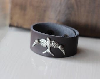 Leather Cuff with Silver Bird