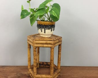 Small Rattan Bamboo Plant Stand - Boho Jungalow Mid Century Home Garden Decor