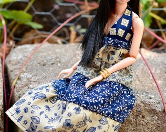 Momoko doll or Barbie Petite clothes, 12 inches doll clothing, gypsy blue and beige dress with halter top, cotton and silk patchwork dress