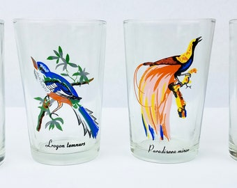 Set of 4 Vintage Tropical Bird 7 oz. Tumbler Juice Glasses KIG, Malaysia, EUC