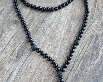 Black Onyx Diffusing Necklace with Black Onyx Crystal